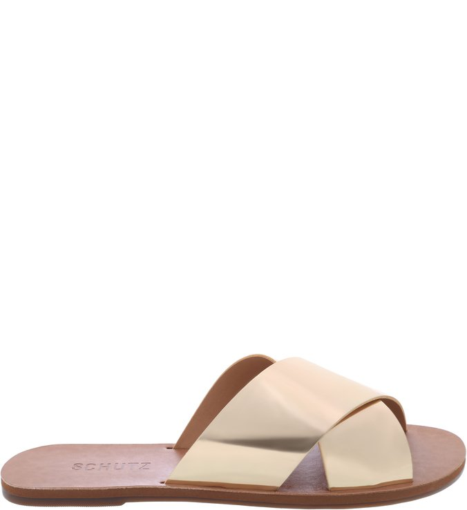 Flat Slide Cross Dourada | Schutz