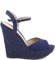 Sandália Tressê Anabela Blue Jeans Print