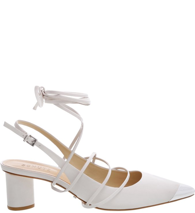 Scarpin Slingback Lace Up Pearl