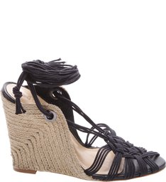 Wedge Rustic Straw Black