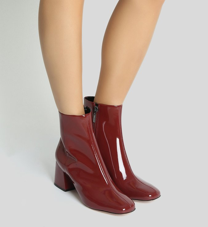 Bota Block Heel Verniz Red Brown