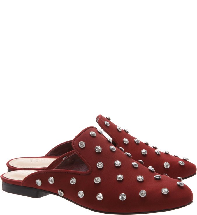 Flat Mule Crystal Velvet Red