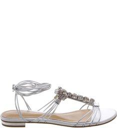 Flat Cristals Sandal Prata
