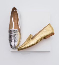 Mocassim Sliper Dourado