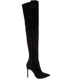 Bota Over The Knee Lace Up Black