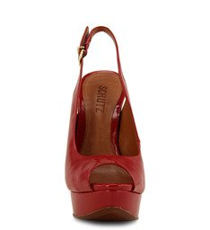 Sandália Peep Toe Verniz Vermelha