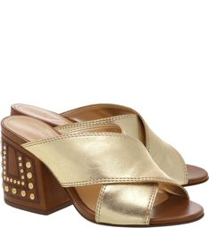Mule Block Heel Studs Gold