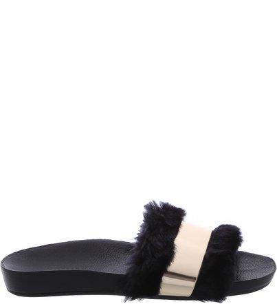 Slide Faux Fur Black