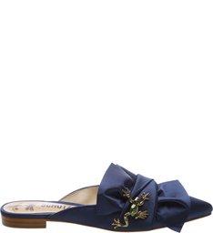 Flat Mule Big Knot Jewerly Dress Blue