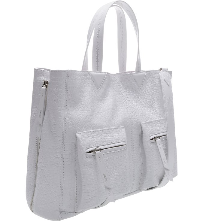 Slouchy Tote Pockets White