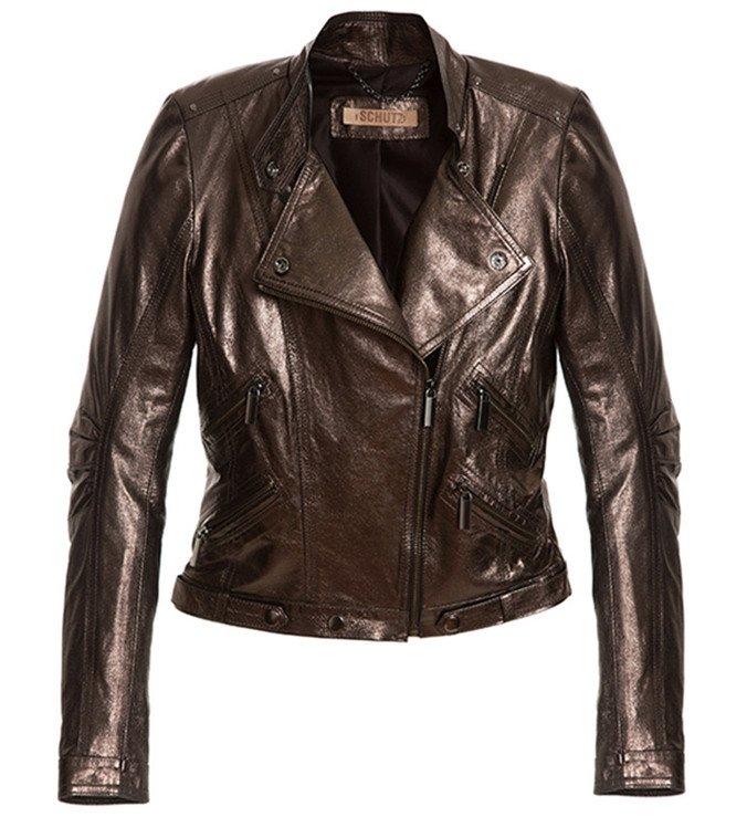 Jaqueta De Couro Metalizado