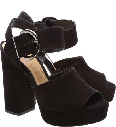 Sandália Block Heel Fivela Dourada Black