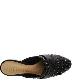 Block Heels Mule Studs Black