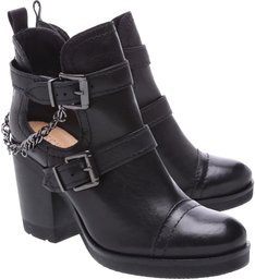 Cut Out Boot Couro Black