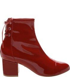 Boots Block Heel Verniz Red