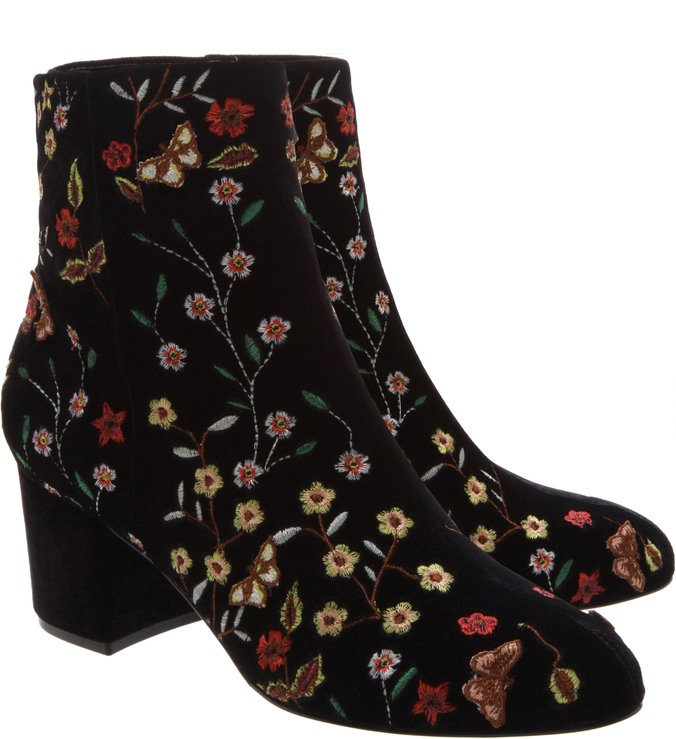 Velvet Boot Floral Black