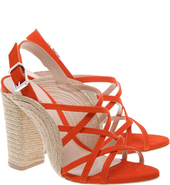 Sandália Curves Block Heel Red Orange