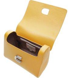 The S Bag Couro Média Rib Yellow