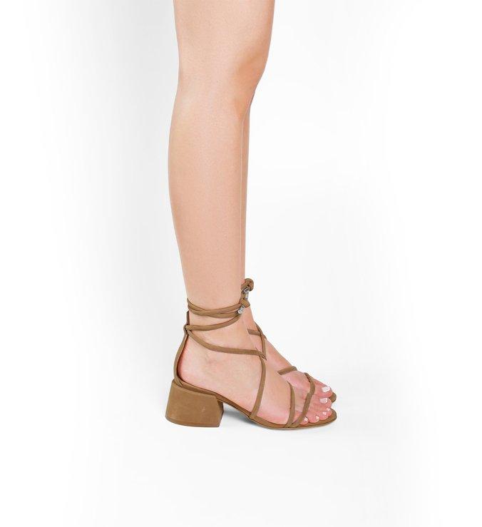 Sandália Chunky Heel Lace-up Nude