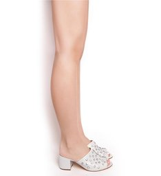 Mule Crystal Block Heel Pearl