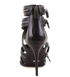Sandália Grunge Preta Com Ziper