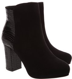 Bota Block Heel Croco Mix Black
