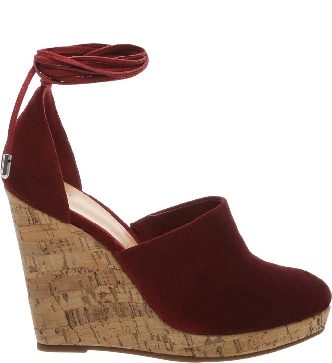 Wedge Espadrille Lace Up Red Wine