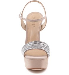 Sandália Tira Larga Metalic Nude