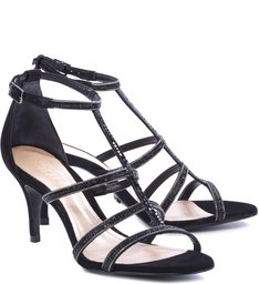 Sandália Tiras Metalizada Black
