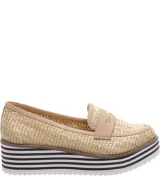 Mocassim Flatform Stripes Natural