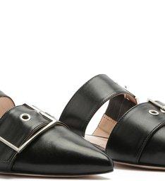 Flat Mule Buckles Black