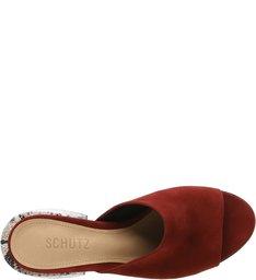 Mule Chunky Heel Snake Red Brown