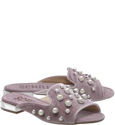 Flat Open Toe Mule Studs Rose