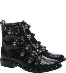 Combat Boot Buckles Croco Black