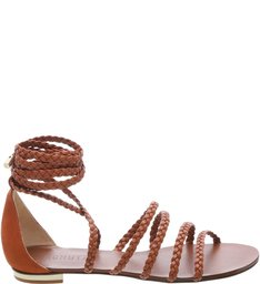 Flat Multistraps Lace Up Summer Rust