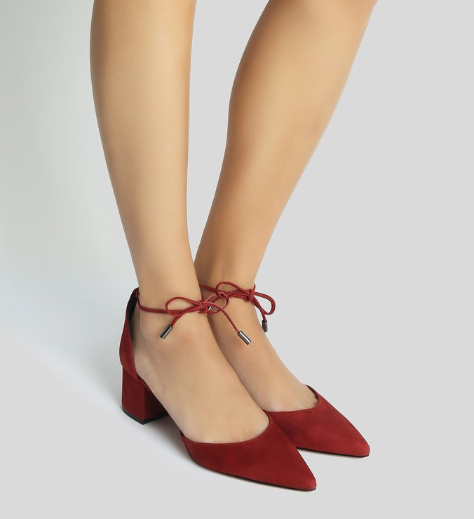 Sapato Block Heel Lace-Up Nobuck Red