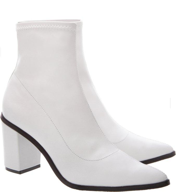 Sock Boot Block Heel Branca