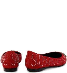 Sapatilha Tachas E Pedras Vermelha