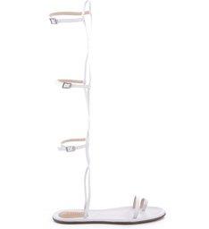 Flat Sandal Thin Stripes Gladiator Pearl