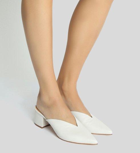 Mule Block Heel Cava White
