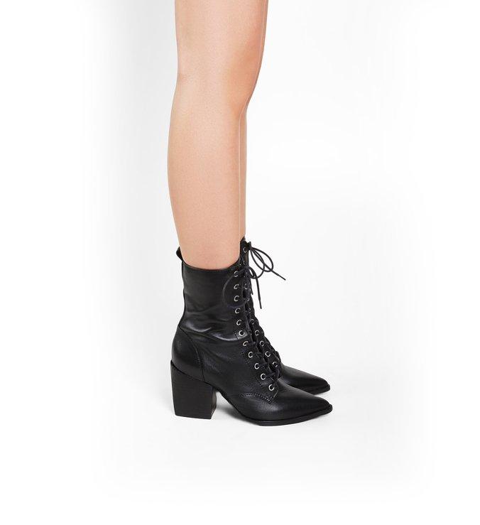 Lace-Up Combat Boots Black