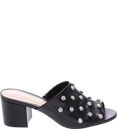 Mule Crystal Block Heel Black