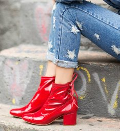 Boots Block Heel Verniz Red