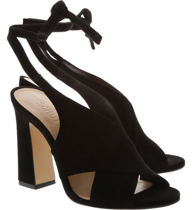 Sandália Slingback Nobuck Lace-Up Black