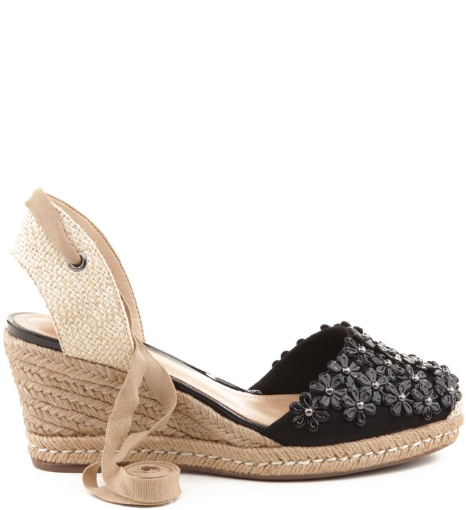 Espadrille Glam Flower Black