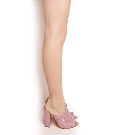 Mule High Heel Crystal Poppy Rose