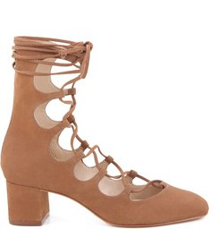 Gladiadora Salto Bloco Lace Up Bamboo