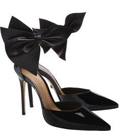 Scarpin Maxi Bow Verniz Black