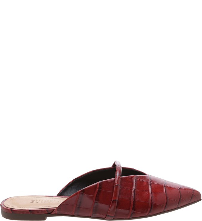 Flat Mule Croco Red Brown | Schutz
