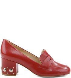 Mocassim Studded Heel Red